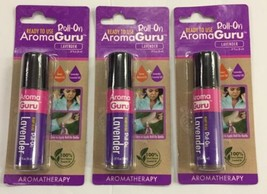 3 Pack Aroma Guru Roll-on Lavender Oil Aromatherapy 100% Pure Natural Oi... - $8.22