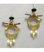 Asian Pear Ring Pearl Drop Earrings Handcrafted Unique Green Paper Twig ... - $88.00