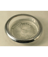 Pressed Glass with Unknown Grade of Silver Trim Ring a Single Coaster  - $10.00