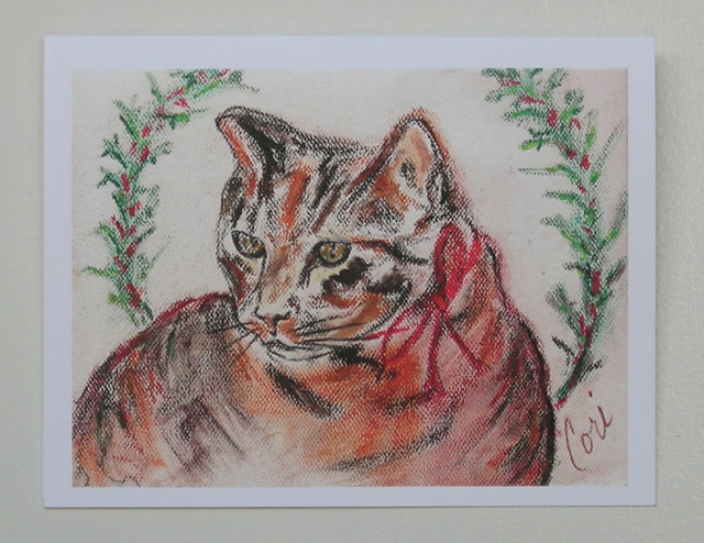 Tabby Cat Art Christmas Holiday Greeting Cards