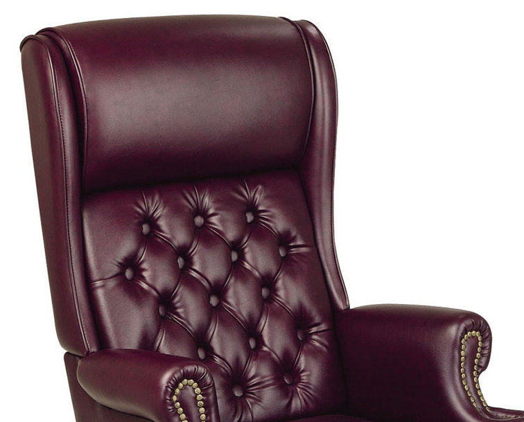 Deluxe High Back Swivel Office Oxblood Burgundy Vinyl Traditional Chair