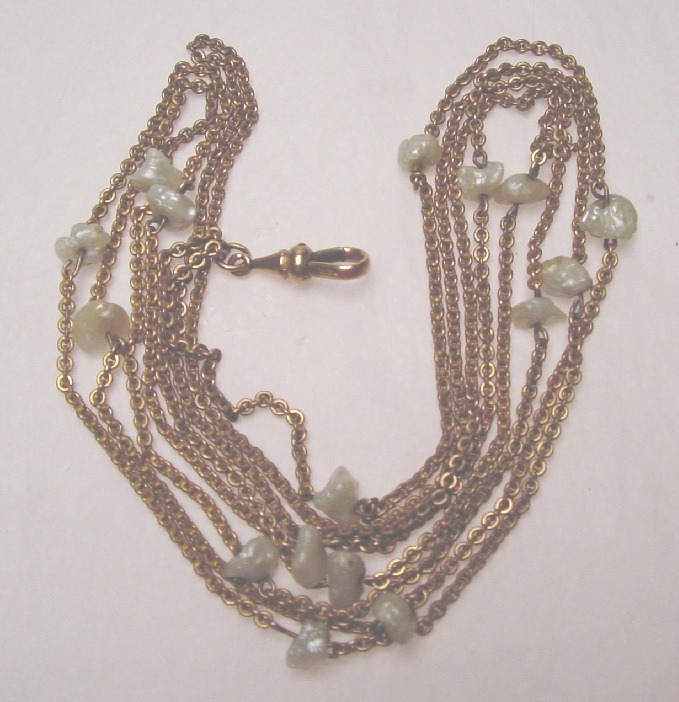 ANTIQUE WATCH/MUFF CHAIN - MISSISSIPPI PEARLS