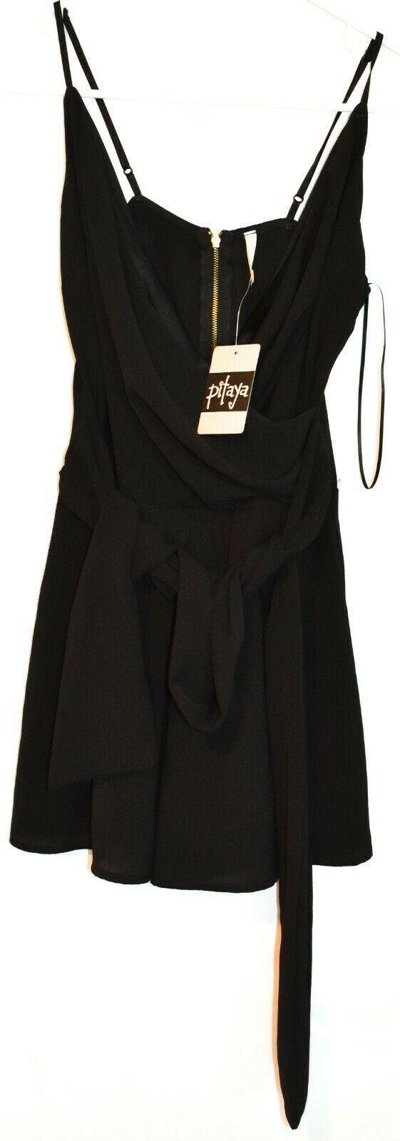 Pitaya Women's Tie Back Wrap Front Adjustable Strap Black Tank Romper Size M NWT