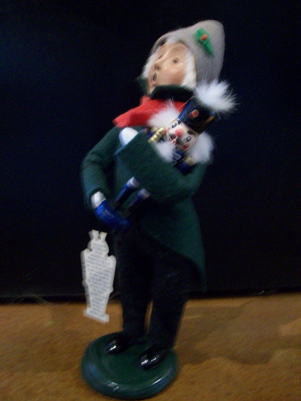 Byers Choice Caroler, Boy Holding Nutcracker, Green Coat,  New