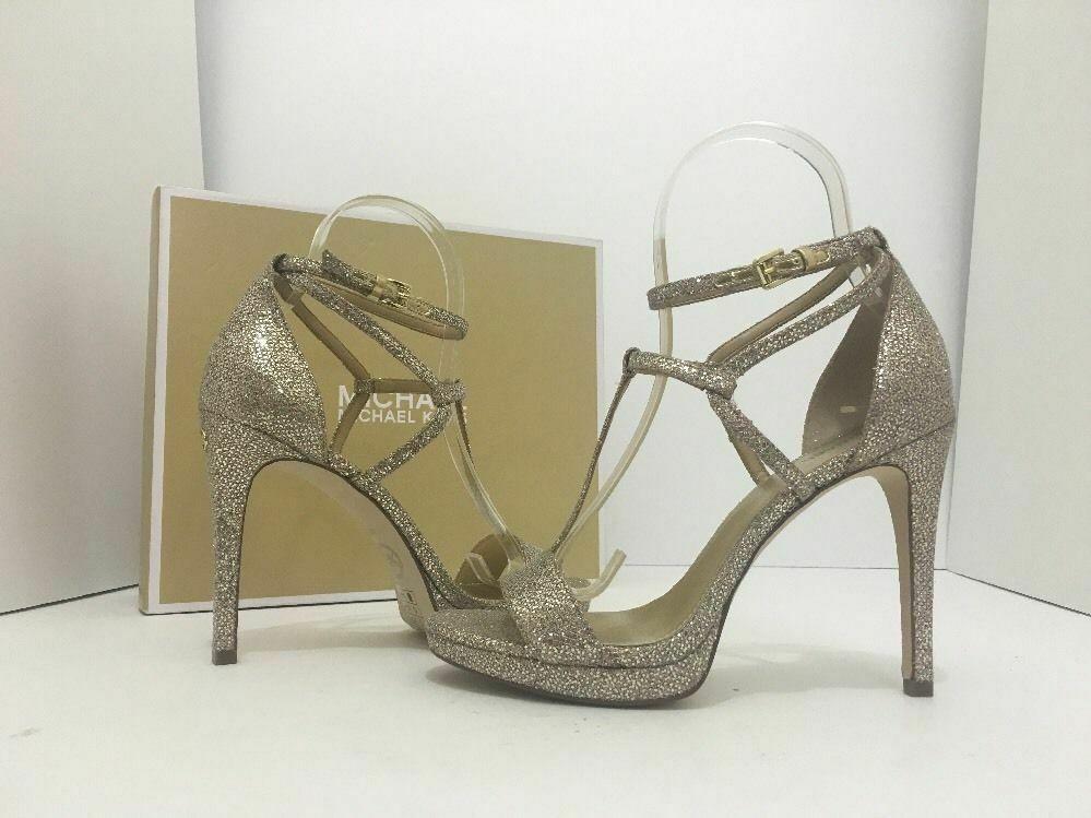 Michael Kors Simone Women Evening Platform High Heels Sandals 6.5 Silver Glitter
