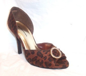 New! RHINESTONE RING PUMPS Animal Print Peeptoe Stiletto Shoes 6M
