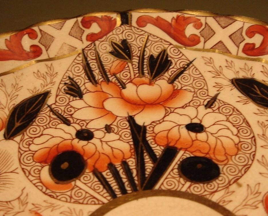 19 C Elaborate Scalloped English Imari Plate