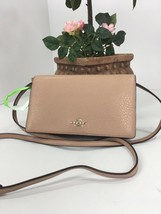 Coach Crossbody Bag Pebbled Leather Fold over Clutch F54002 Nude Pink B12 - $118.12 CAD