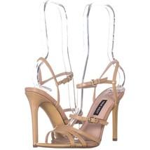 Nine West Gilficco Strappy Sandals 221, Light Natural Patent, 6.5 US - $33.59