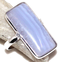 Special Sale, Beautiful Blue Lace Agate Ring, Size 6.5 or N, 925 Silver,... - $18.40