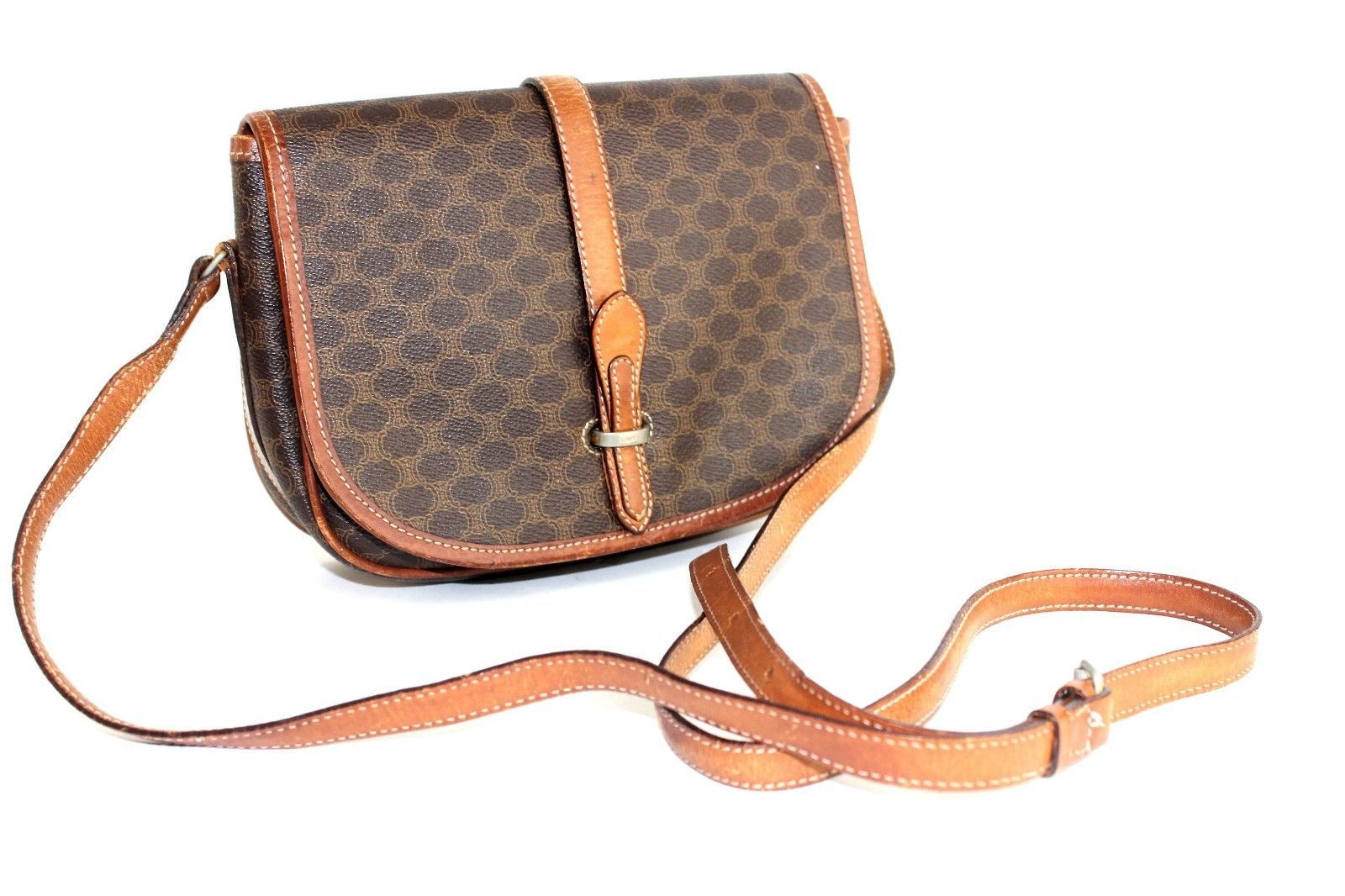 S l1600. S l1600. Previous. Authentic CELINE Macadam Canvas Leather PVC  Brown Crossbody Shoulder Bag Purse 659fa45bf302e