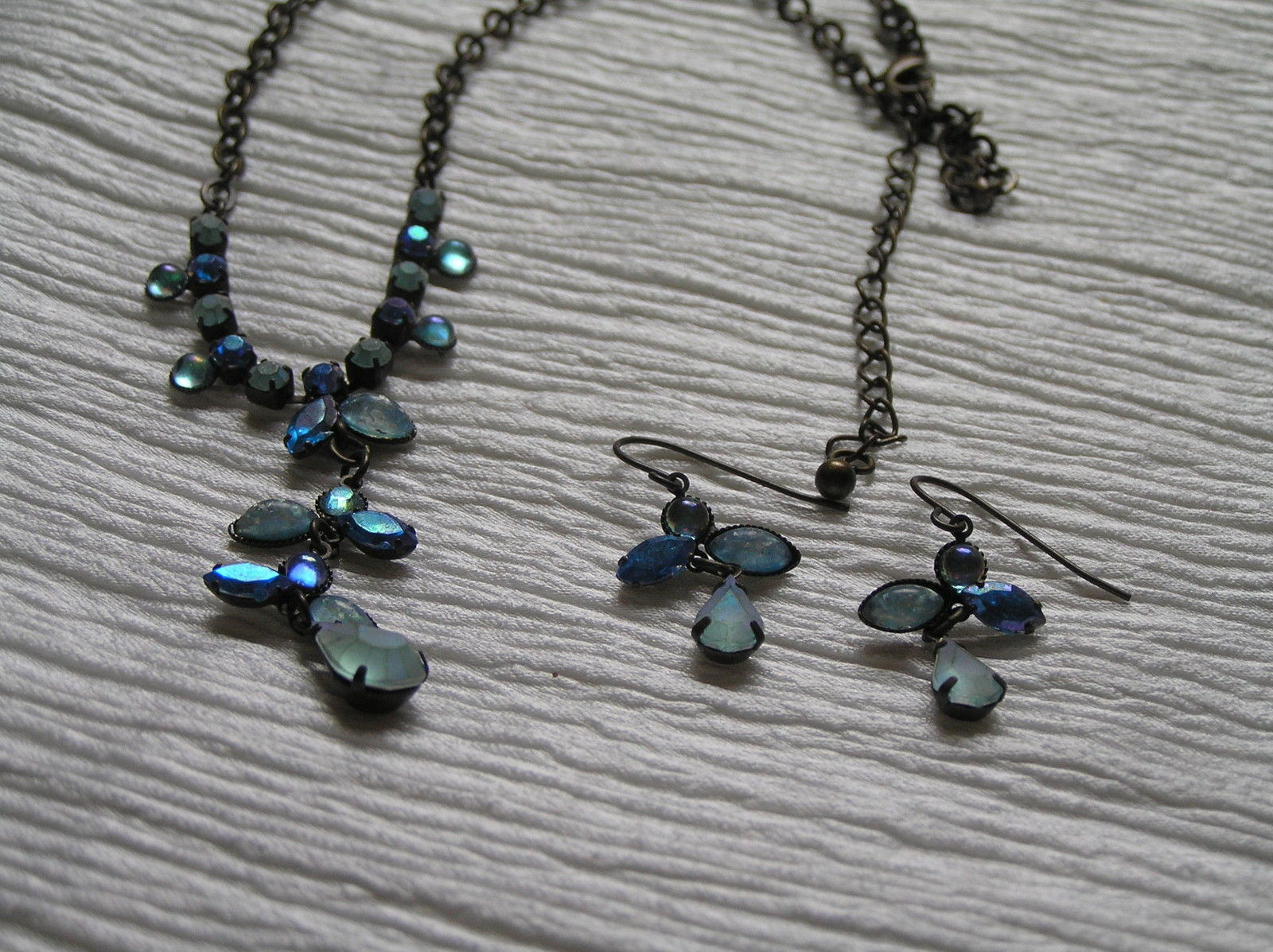 Estate Demi Frosted & Not Shades of Blue Rhinestone Abstract ANGEL Necklace
