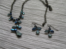 Estate Demi Frosted & Not Shades of Blue Rhinestone Abstract ANGEL Necklace image 1