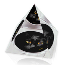 "Shadow Cat Illustrated Animal Art 2"" Crystal Pyramid Paperweight - $15.99"