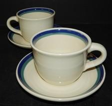 2 Pfaltzgraff USA Northwinds  Mugs Cups and Saucers Stoneware Blue Green Stripe - $29.69
