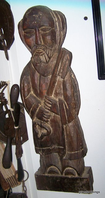 ANTIQUE MAN HOLDING A KEY WOOD CARVING 18''