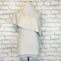Ann Taylor Women's One Shoulder Black & White Striped Dressy Shirt Size 2XS - $19.79