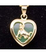 PENDANT GREEN JADE ZODIAC DOG 18K GOLD PLATE #539 - $7.99