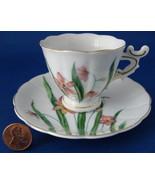 Cup And Saucer Vintage Lilies Demi Japan Fancy Handle Vintage Porcelain ... - $14.00