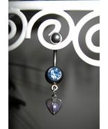 BELLY NAVEL RING BLUE TOPAZ CRYSTAL HEART #530C - $7.99