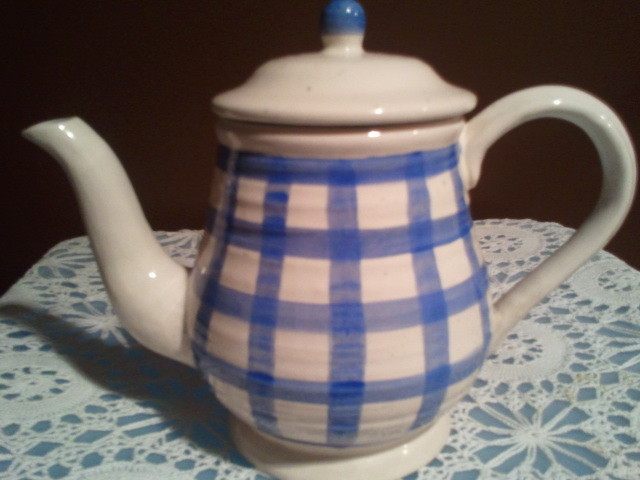 Enesco Country Living Dry Goods Blue Plaid Teapot