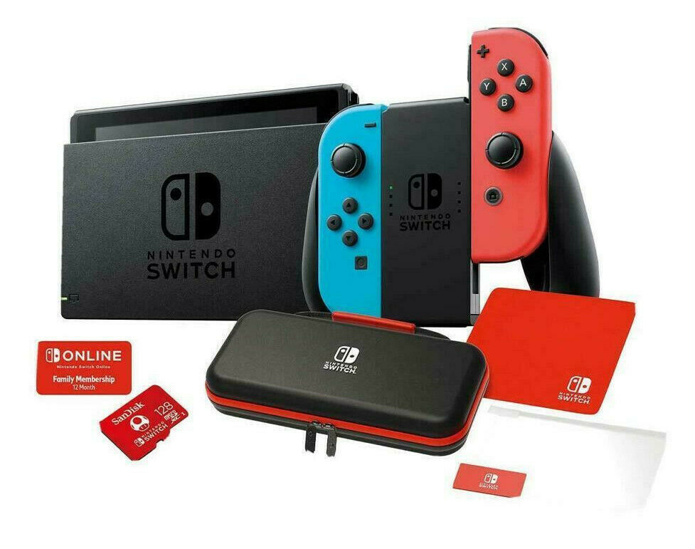 Nintendo Switch Bundle 12 MONTH PLAN & CASE 128GB MicroSD CARD Screen Protector - $573.21