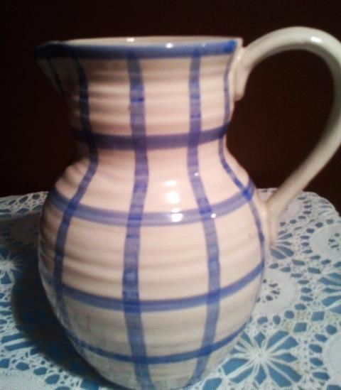 Enesco Country Living Dry Goods Blue Plaid Water Pitcher