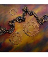 original 14 inch by 14 inch acrylic painting  bicycle gears  - $39.99