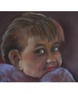 original art drawing 10x10 pastel child - $6.99