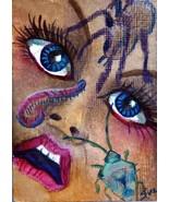 original art aceo card drawing Creep Crawly Bugs woman - $6.99
