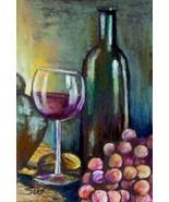 original art ACEO color pencil drawing Fall Harvest wine gra - $8.99