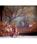 original art 3-D painting ceramic combined farm series sheep - $34.99
