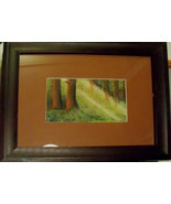 forest light trees pastel drawing framed matted 14x17 - $39.99