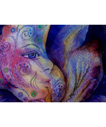 original art painting floral face of nature matted 14x18 - $35.00