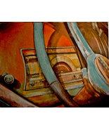 original art drawing vintage dash  car dashboard  matted to  - $49.99