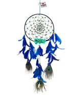 ROYAL PEACOCK WITH FLOWERS DREAMCATCHER WALL HANGING HANDMADE FEATHERS - $43.12