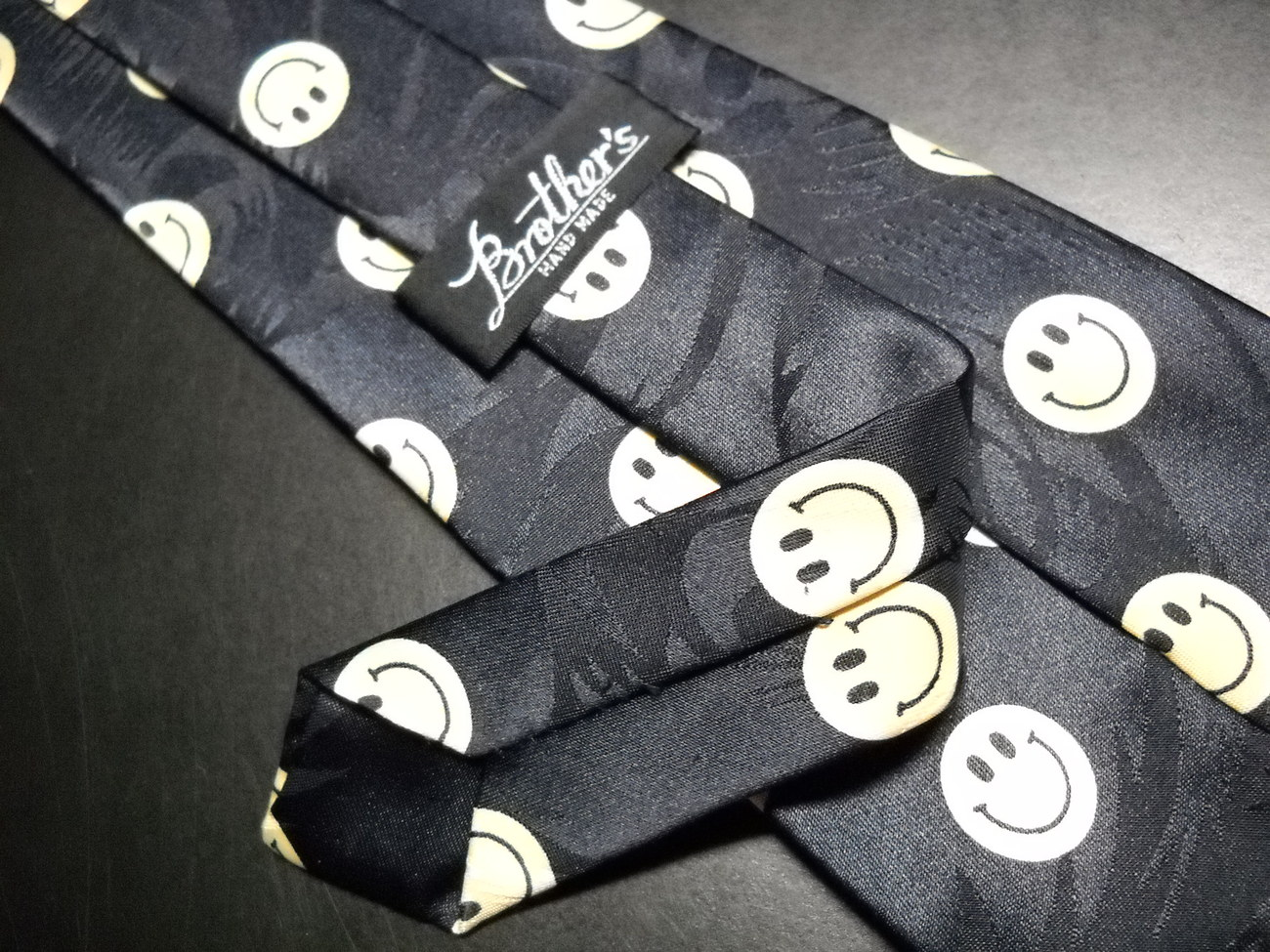 Brothers Neck Tie Dark Blue with Lots of Yellow Smiley Faces