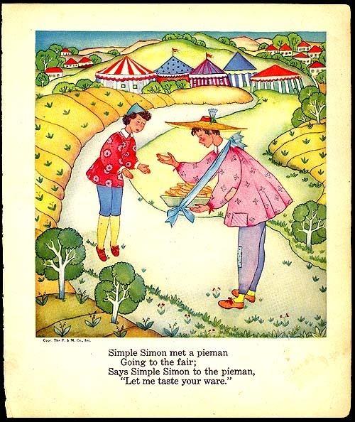 Simple Simon 1944 Original Mother Goose Margot Austin Print