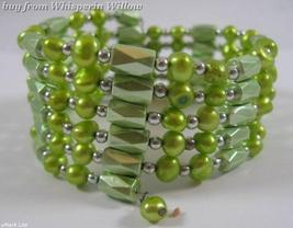 Drab Green Color Magnetic Hematite/Pearl Lariat/Earrings Set - $22.50