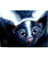 Original Art pastel drawing black & white skunk 4x6 - $10.00