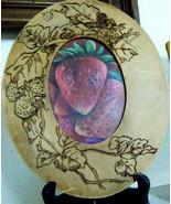 vintage flemish art frame & original art strawberries - $38.00