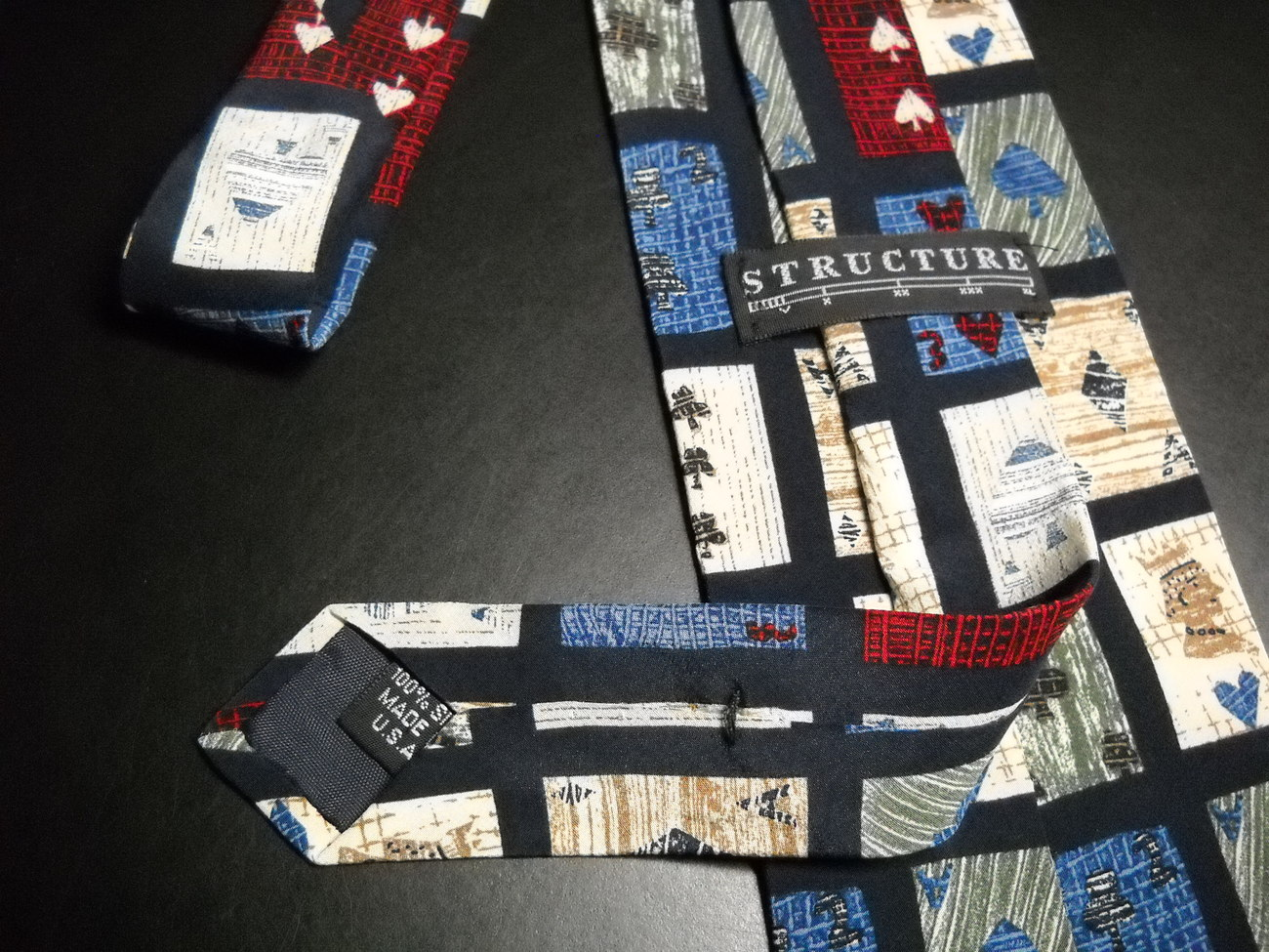 Structure Mens Dress Neck Tie Abtractions of Playing Cards in Whites Reds Blues