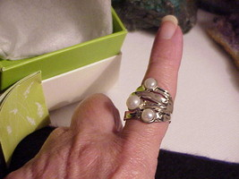 """14K White Gold Clad 3 Pearl Brutalist Ring Biomorphic """"Or Paz"""" Sz 9 New Box - $173.24"""