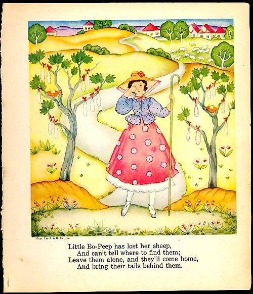 Little Bo Peep 1940s Original Book Art Print Margot Austin