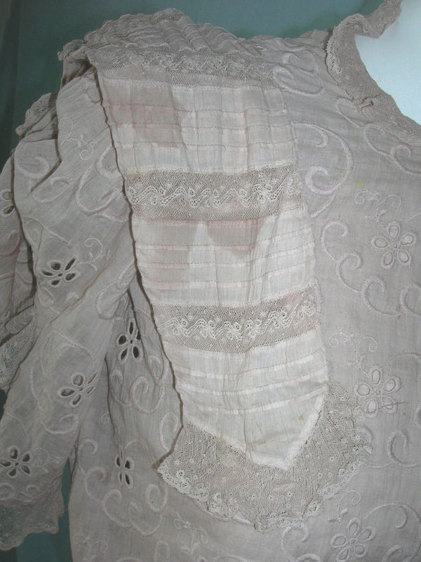 Vintage Edwardian Normandy Lace Batiste Day Dress XS Eyelet Ladies Teen Dress