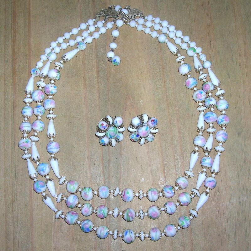 Vintage Lampwork Bead Necklace Earrings Set Vintage Venetian Glass Bead Parure