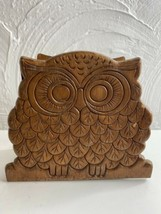 Vintage Wood Owl Brown Napkin Holder Letter Holder Notebook Holder Owl D... - $18.69