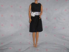 Black Polka Dot Dress/ White Polka Dot Belt and Satin Flower Accent fits... - $5.95