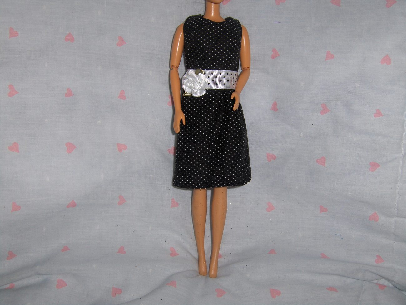 Black Polka Dot Dress/ White Polka Dot Belt and Satin Flower Accent fits Barbie