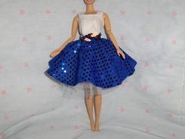 White and Blue Glitter Dot Swing Style Dress with Red White and Blue Seq... - $10.95